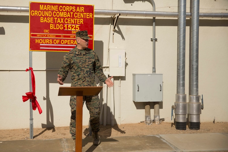 Brig. Gen. William F. Mullen III, Combat Center Commanding General, addresses Combat Center Marines after unveiling the new location for the Combat Center Tax Center aboard Marine Corps Air Ground Combat Center, Twentynine Palms, Calif., Jan. 23, 2017. The Tax Center, located in building 1525 on Fourth Street, provides free tax return preparation assistance to service members, dependents and retirees. (U.S Marine Corps photo by Cpl. Medina Ayala-Lo)