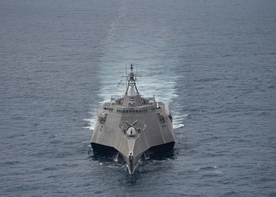 Littoral combat ship USS Coronado (LCS 4) steams independently during operations in the South China Sea, Feb. 1, 2017. Currently on a rotational deployment in the Indo-Asia-Pacific, Coronado is a fast and agile warship tailor-made to patrol the region's littorals and work hull-to-hull with partner navies, providing 7th Fleet with the flexible capabilities it needs now and in the future.