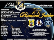 SCHRIEVER AIR FORCE BASE, Colo. --   The 310th Space Wing Annual Awards Banquet is Saturday, Apr. 1st, at The Antlers Heritage Ballroom, 4 South Cascade Ave, Colorado Springs, CO 80930. The social hour will begin at 5:30 p.m. and the banquet will commence at 6:30 p.m. RSVP is required in order to purchase tickets for the event. For more information, and the RSVP link, contact Capt. Jesse Diaz at (719) 237-1857, Capt. Ana Dominguez at (719) 567-2159 or Capt. Allen Chandler at (719) 567-4426.
