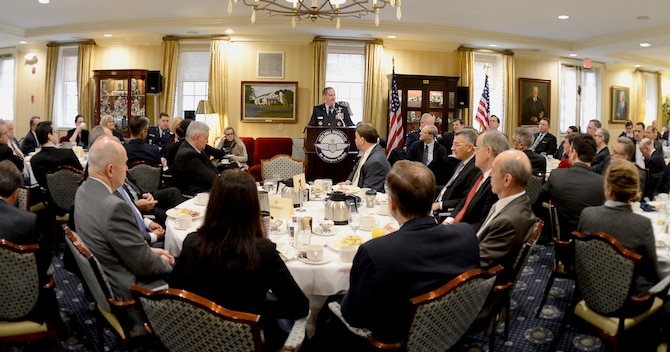 Air Force Chief of Staff Gen. David Goldfein discusses Air Force's Space capabilities and responsibilities at the Mitchell Institute's Space Power Breakfast at the Capitol Hill Club in Washington, D.C., Feb 3, 2017. (U.S. Air Force photo/Andy Morataya)