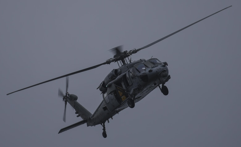An MH-60S Sea Hawk helicopter assigned to the Island Knights of Helicopter Sea Combat Squadron (HSC) 25 conducts a training flight June 15, 2016, at Andersen Air Force Base, Guam. HSC-25 maintains a 24-hour search and rescue and medical evacuation alert posture, directly supporting the U.S. Coast Guard, Sector Guam and Joint Region Marianas. HSC-25 ensures maritime peace and security in the U.S. 7th Fleet area of responsibility. (U.S. Air Force photo by Tech. Sgt. Richard Ebensberger)