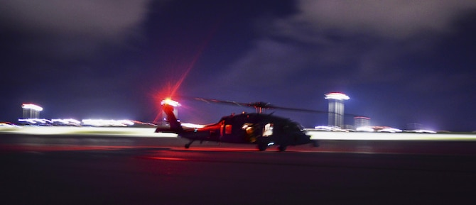 An MH-60S Sea Hawk helicopter assigned to the Island Knights of Helicopter Sea Combat Squadron (HSC) 25 condusts a training flight June 16, 2016, at Andersen Air Force Base, Guam. HSC-25 maintains a 24-hour search and rescue and medical evacuation alert posture, directly supporting the U.S. Coast Guard, Sector Guam and Joint Region Marianas. HSC-25 ensures maritime peace and security in the U.S. 7th Fleet area of responsibility. (U.S. Air Force photo by Tech. Sgt. Richard Ebensberger)