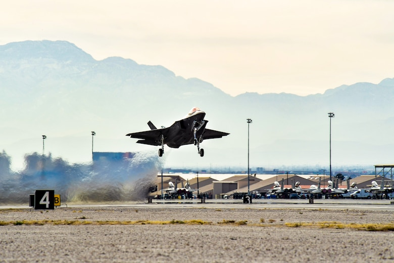 An F-35A Lightning II fighter aircraft from Hill Air Force Base, Utah, takes off from Nellis AFB, Nev., Feb. 2, during Red Flag 17-01. This is the first F-35A deployment to Red Flag since the Air Force declared the jet combat ready in August 2016. (U.S. Air Force photo/R. Nial Bradshaw)