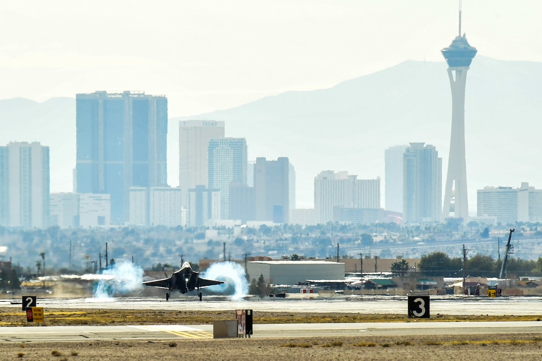 An F-35A Lightning II aircraft from Hill Air Force Base, Utah, takes off from Nellis AFB, Nevada, Feb. 2. Airmen from the 388th and 419th Fighter Wings at Hill are participating in Red Flag 17-01. Red Flag is the U.S. Air Force's premier air-to-air combat training exercise. This is the first F-35A deployment to Red Flag since the Air Force declared the jet combat ready in August 2016. (U.S. Air Force photo/R. Nial Bradshaw)