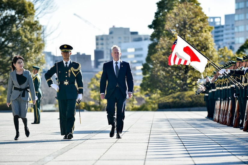 Defense Secretary Jim Mattis reviews a formation of Japanese troops with Japanese Defense Minister Tomomi Inada during a welcome ceremony at the Ministry of National Defense in Tokyo, Feb. 4, 2017. DoD photo by Army Sgt. Amber I. Smith