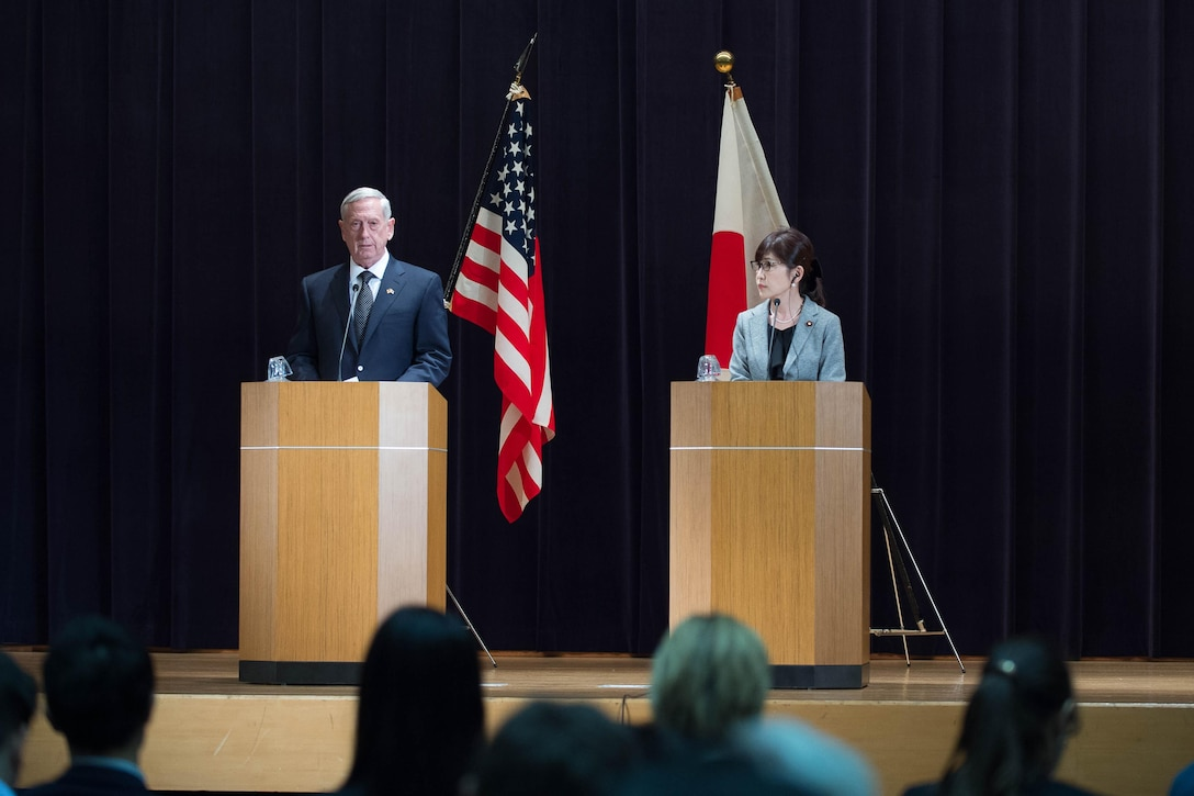 Defense Secretary Jim Mattis speaks during a joint press conference with Japanese Defense Minister Tomomi Inada.