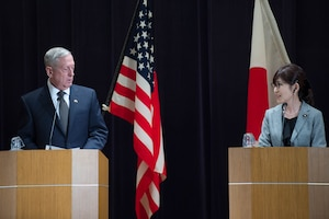Defense Secretary Jim Mattis speaks during a joint press conference with Japanese Defense Minister Tomomi Inada following their meeting at the Defense Ministry in Tokyo, Feb. 4, 2017. DoD photo by Army Sgt. Amber I. Smith