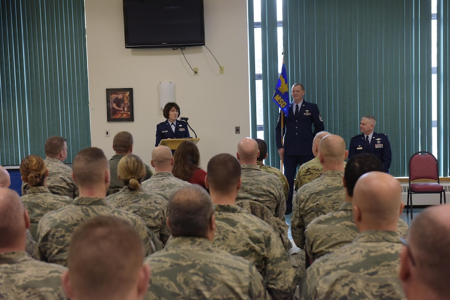 Col. Maureen Murphy, incoming 109th Mission Support Group commander, adresses the audience as Col. Shawn Clouthier, 109th Airlift Wing commander, looks on during the MSG change of command ceremony at Stratton Air National Guard Base, New York, on Feb. 4, 2017.  (U.S. Air National Guard photo by Staff Sgt. Ben German/Released)