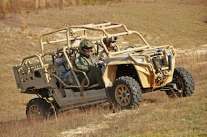 Maj. Gen. Richard Scobee, 10th Air Force commander, gets an orientation ride on a 919th Special Operations Security Forces Squadron all-terrain vehicle at Duke Field, Fla., Jan. 19, 2017. During his visits to Citizen Air Commandos at Duke and Hurlburt Field, Scobee held a wing-wide assembly and visited many of them at their work centers to observe and thank them for the work they do for the 919th Special Operations Wing's diverse mission sets. (U.S. Air Force photo/Dan Neely)
