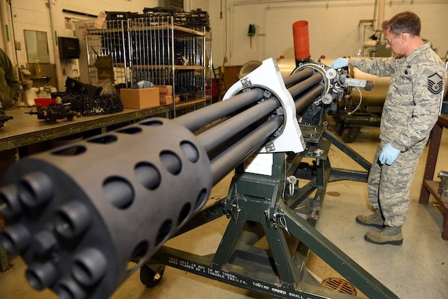 170204-Z-EZ686-015 -- Master Sgt. Thomas Barjaktarovich of the 127th Maintenance Group inspects the 30mm GAU-8 Avenger Gatling gun from an A-10 Thunderbolt II of the 107th Fighter Squadron, at Selfridge Air National Guard Base, Mich., Feb. 5, 2017.  The GAU-8 Avenger requires an in depth inspection every 36 months.  (U.S. Air National Guard photo by MSgt. David Kujawa)