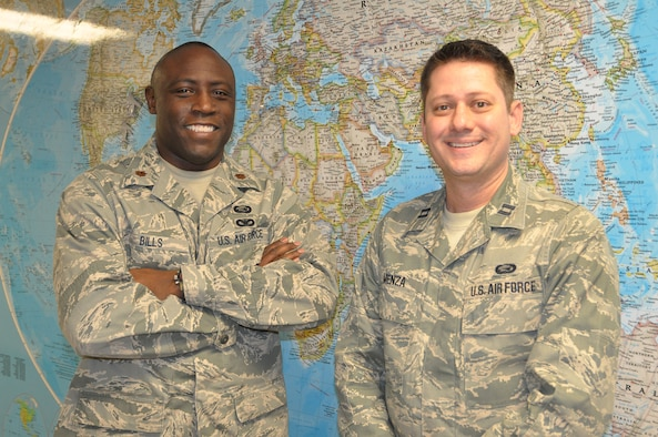 Maj. Audric Bills, 445th Equal Opportunity office director, and Capt. Nick Menza, EO officer, and their staff are here to serve 445th Airlift Wing Airmen needing their services. The office is open during the Scarlet unit training assembly from 8:30 a.m. to 4 p.m. or by appointment on the Gray UTA. Airmen may call (937) 257-0237 or send an e-mail to 445aw.me@us.af.mil to set up an appointment. (U.S. Air Force photo/Staff Sgt. Rachel Ingram)