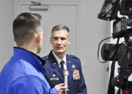 Col. Daniel Sarachene conducts his first media interview after assuming command of the 910th Airlift Wing and Youngstown Air Reserve Station here, Feb. 4, 2017. Sarachene is the first Mahoning County resident to assume command of the 910th since at least 1981. He spent the majority of his career at YARS before becoming the vice commander of Niagara Falls Air Reserve Station, New York in 2014. (U.S. Air Force photo/Senior Airman Joshua Kincaid)