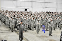 Airmen from the 910th Airlift Wing stand in formation and salute during an assumption of command ceremony here Feb. 4, 2017. During the ceremony, Col. Daniel Sarachene assumed command of the 910th Airlift Wing and Youngstown Air Reserve Station. Sarachene is the first Mahoning County resident to assume command of the 910th since at least 1981. He spent the majority of his career at YARS before becoming the vice commander of Niagara Falls Air Reserve Station, New York in 2014. (U.S. Air Force photo/Senior Airman Joshua Kincaid)