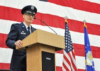 Col. Daniel Sarachene addresses the audience during his assumption of command ceremony here, Feb. 4, 2017. Sarachene is the first Mahoning County resident to assume command of the 910th since at least 1981. He spent the majority of his career at YARS before becoming the vice commander of Niagara Falls Air Reserve Station, New York in 2014. (U.S. Air Force photo/Senior Airman Joshua Kincaid)