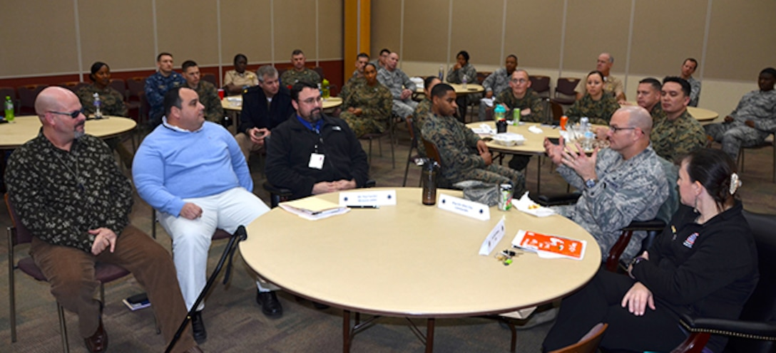 Defense Logistics Agency Aviation's military leaders attend the Military Leader Professional Development 'lunch and learn' event, Jan. 27, 2017 in the Lott's Conference Center on Defense Supply Center Richmond, Virginia. Topics discussed were the partnership program with Hunter Holmes McGuire Veterans Administration Medical Center's Polytrauma Transitional Rehabilitation Program and the Servicemember Transitional Advanced Rehabilitation program known as the STAR program.