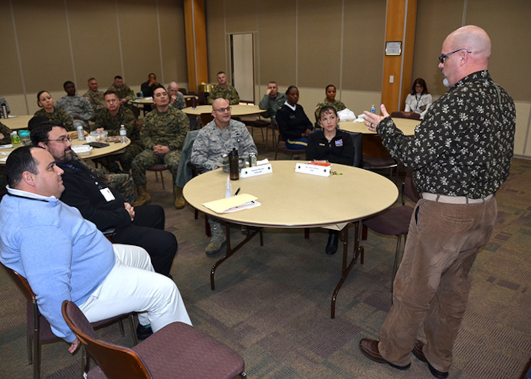 Defense Logistics Agency Aviation's military leaders attend the Military Leader Professional Development 'lunch and learn' event, Jan. 27, 2017 in the Lott's Conference Center on Defense SupplyCenter Richmond, Virginia. DLA Aviation's employee Stewart Young, a customer account specialists in the Customer Operations Directorate shares his story on how McGuire's Servicemember Transitional Advanced Rehabilitation program and partnership with DLA Aviation has helped him with the physical, mental and emotional recovery, and getting back to work.