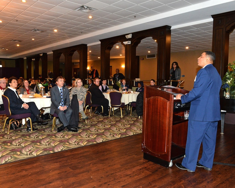 U.S. Air Force Colonel Shon Neyland, Air Force Materiel Command command chaplain, delivers the keynote address at the annual 88th Air Base Wing Dr. Martin Luther King Humanitarian Awards luncheon at Wright-Patterson Air Force Base on Jan 18, 2017. The luncheon and ceremony is held in honor of Dr. King's birth, life's work and achievements, recognizing individuals who have exemplified his self-sacrifice. (U.S. Air Force photo / Al Bright)