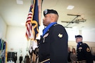 Army Reserve Spc. Thomas Townsend, 85th Support Command color guard team, presents the Colors during the command's retirement ceremony, Jan. 7, 2017. Three Soldiers, assigned to the command, retired with a combined 82 years of service.