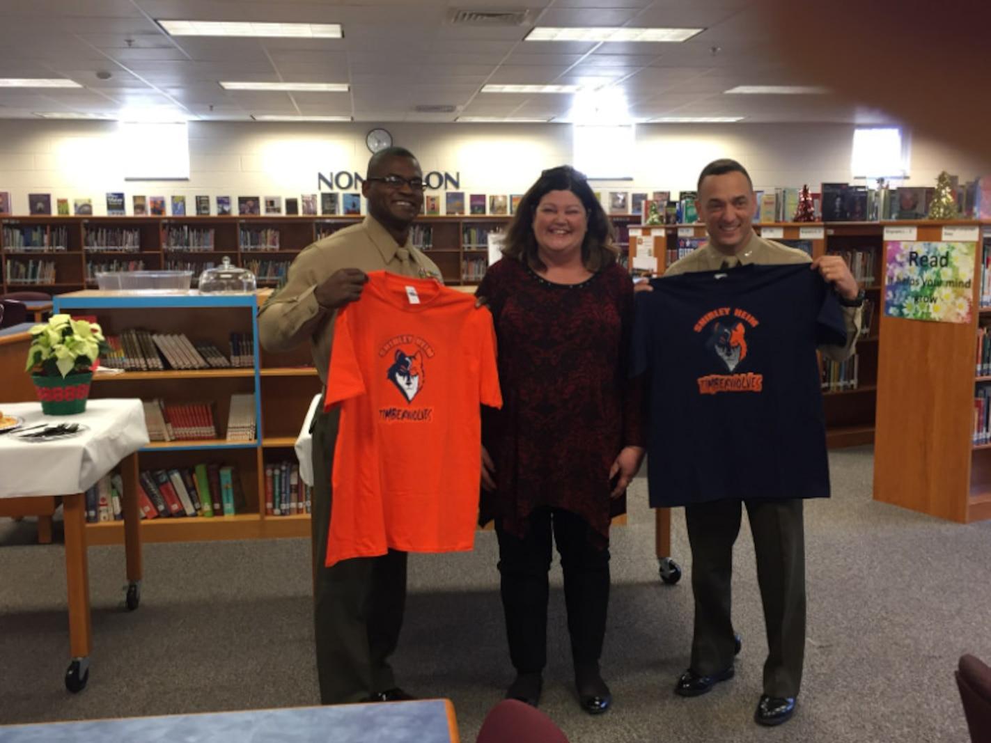 Col Murray and SgtMaj Williams kick off the Adopt-A-School Program at Shirley Heim Middle School.