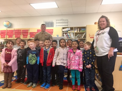 Capt Magyar at Triangle Elementary School with Ms. Rittenour's class.