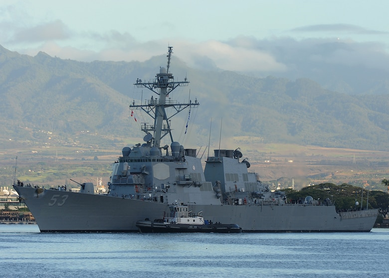 Official U.S. Navy file photo of the guided-missile destroyer USS John Paul Jones (DDG 53) departing Joint Base Pearl-Harbor-Hickam for a scheduled underway, July 27, 2015.