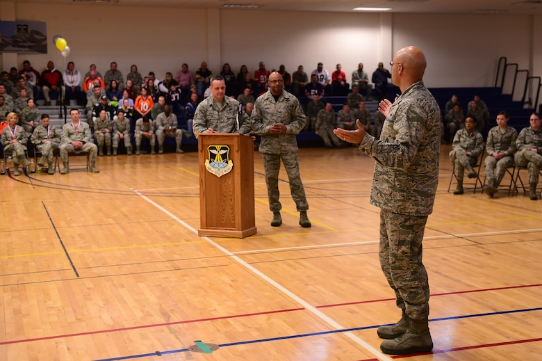Col. David Miller Jr., 460th Space Wing commander, speaks to the annual awards attendees Feb. 3, 2017, on Buckley Air Force Base, Colo. The annual awards is an award ceremony that recognizes the significant achievements, dedication and skill of the military and civilian members of the 460th SW.   (U.S. Air Force photo by Airman Jacob Deatherage/Released)