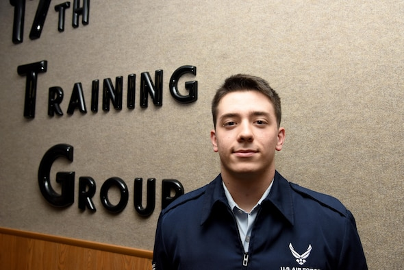 U.S. Air Force Airman 1st Class Craig Irvin, 315th Training Squadron student, smiles for a portrait at Brandenburg Hall on Goodfellow Air Force Base, Texas, Feb. 3, 2017. Irvin is the Goodfellow Student of the Month spotlight for January 2017, a series highlighting Goodfellow students. (U.S. Air Force photo by Staff Sgt. Joshua Edwards/Released)