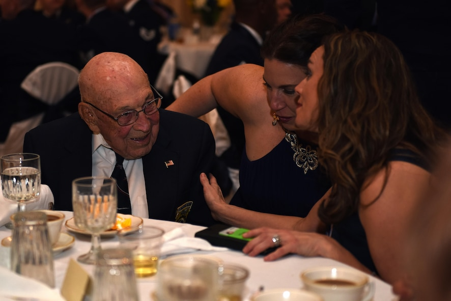 U.S. Air Force Retired Col. Dick Cole speaks to Goodfellow members during the Annual Awards Banquet at the Cactus Hotel in San Angelo, Texas, Feb. 3, 2017. Cole is the last remaining Doolittle Raider. (U.S. Air Force photo by Airman 1st Class Caelynn Ferguson/ Released)