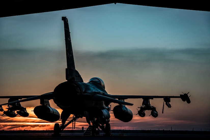 An F-16 Fighting Falcons sits on the flightline at sunset at the 407th Air Expeditionary Group Feb. 4, 2017. The F-16 is part of the 134th Expeditionary Fighter Squadron, supporting Operation Inherent Resolve in the fight against the Islamic State of Iraq and the Levant. (U.S. Air Force photo/Master Sgt. Benjamin Wilson)(Released)