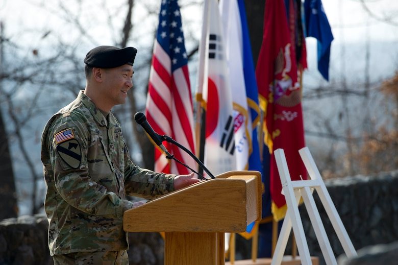 U.S. Army Col. Yi, Se Gwon, 3rd Battlefield Coordination Detachment- Korea commander, introduces the guest speaker for the 66th Anniversary of the Battle of Bayonet Hill Commemoration Ceremony on Osan Air Base, Republic of Korea, Feb. 3, 2017.  U.S. Army Command Sgt. Maj. Rick Merritt, Command Sergeant Major Eighth Army, was the guest speaker. (U.S. Air Force photo by Staff Sgt. Jonathan Steffen)