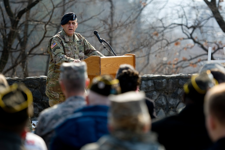 U.S. Army Command Sgt. Maj. Rick Merritt, Command Sergeant Major Eighth Army, speaks during the 66th Anniversary of the Battle of Bayonet Hill Commemoration Ceremony on Osan Air Base, Republic of Korea, Feb. 3, 2017. Merritt spoke about the Hill 180 bayonet charge led by U.S. Army Capt. Lewis Millett during the Korean War. (U.S. Air Force photo by Staff Sgt. Jonathan Steffen)