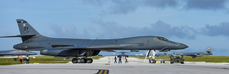 A U.S. Air Force B-1B Lancer assigned to the 9th Expeditionary Bomb Squadron, deployed from Dyess Air Force Base, Texas, arrives Feb. 6, 2017, at Andersen AFB, Guam. The 9th EBS is taking over U.S. Pacific Command's Continuous Bomber Presence operations from the 34th EBS, assigned to Ellsworth Air Force Base, S.D. The B-1B's speed and superior handling characteristics allow it to seamlessly integrate in mixed force packages. These capabilities, when combined with its substantial payload, excellent radar targeting system, long loiter time and survivability, make the B-1B a key element of any joint/composite strike force. While deployed at Guam the B-1Bs will continue conducting flight operations where international law permit.  (U.S. Air Force photo by Tech. Sgt. Richard P. Ebensberger/Released)
