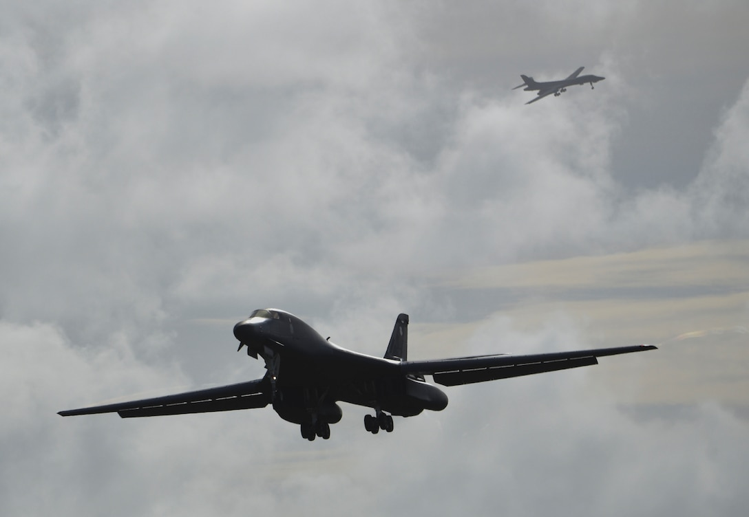 A U.S. Air Force B-1B Lancer assigned to the 9th Expeditionary Bomb Squadron, deployed from Dyess Air Force Base, Texas, lands Feb. 6, 2017, at Andersen AFB, Guam. The 9th EBS is taking over U.S. Pacific Command's Continuous Bomber Presence operations from the 34th EBS, assigned to Ellsworth Air Force Base, S.D. This marks the second deployment of B-1s to Guam in over a decade. The B-1 is a highly versatile, multi-mission weapon system capable of tracking, targeting and engaging moving vehicles as well as allowing aircrew to receive targeting data from the Combined Air Operations Center or other command and control assets to strike emerging targets rapidly and efficiently. The U.S. military has maintained a deployed strategic bomber presence in the Pacific since March 2004, which has contributed significantly to regional security and stability. (U.S. Air Force photo by Tech. Sgt. Richard P. Ebensberger/Released)