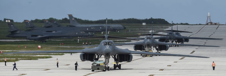 Four U.S. Air Force B-1B Lancers assigned to the 9th Expeditionary Bomb Squadron, deployed from Dyess Air Force Base, Texas, arrive Feb. 6, 2017, at Andersen AFB, Guam. The 9th EBS is taking over U.S. Pacific Command's Continuous Bomber Presence operations from the 34th EBS, assigned to Ellsworth Air Force Base, S.D. The B-1B's speed and superior handling characteristics allow it to seamlessly integrate in mixed force packages. These capabilities, when combined with its substantial payload, excellent radar targeting system, long loiter time and survivability, make the B-1B a key element of any joint/composite strike force. While deployed at Guam the B-1Bs will continue conducting flight operations where international law permit.  (U.S. Air Force photo by Tech. Sgt. Richard P. Ebensberger/Released)