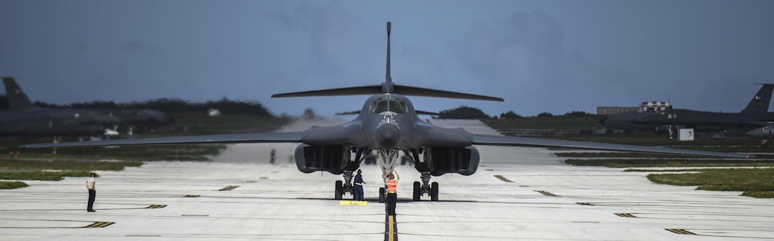 A U.S. Air Force B-1B Lancer assigned to the 9th Expeditionary Bomb Squadron, deployed from Dyess Air Force Base, Texas, arrives Feb. 6, 2017, at Andersen AFB, Guam. The 9th EBS is taking over U.S. Pacific Command's Continuous Bomber Presence operations from the 34th EBS, assigned to Ellsworth Air Force Base, S.D. The B-1B's blended wing/body configuration, variable-geometry wings and turbofan afterburning engines, combine to provide long range, maneuverability and high speed while enhancing survivability. The rotation of aircraft in support is specifically designed to demonstrate the U.S.'s commitment to the Indo-Asia-Pacific region and enhance routine transiting in international airspace throughout the Pacific. (U.S. Air Force photo by Tech. Sgt. Richard P. Ebensberger/Released)