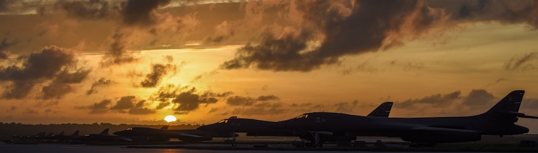 U.S. Air Force B-1B Lancers assigned to the 9th Expeditionary Bomb Squadron, deployed from Dyess Air Force Base, Texas, and the 34th EBS, assigned to Ellsworth Air Force Base, S.D., sit beside one another on the flightline Feb. 6, 2017, at Andersen AFB, Guam. The B-1B's speed and superior handling characteristics allow it to seamlessly integrate in mixed force packages. These capabilities, when combined with its substantial payload, excellent radar targeting system, long loiter time and survivability, make the B-1B a key element of any joint/composite strike force. The 9th EBS is taking over U.S. Pacific Command's Continuous Bomber Presence operations from the 34th EBS. The CBP mission is part of a long-standing history of maintaining a consistent bomber presence in the Indo-Asia-Pacific in order to maintain regional stability, and provide assurance to our allies and partners in the region. (U.S. Air Force photo by Tech. Sgt. Richard P. Ebensberger/Released)