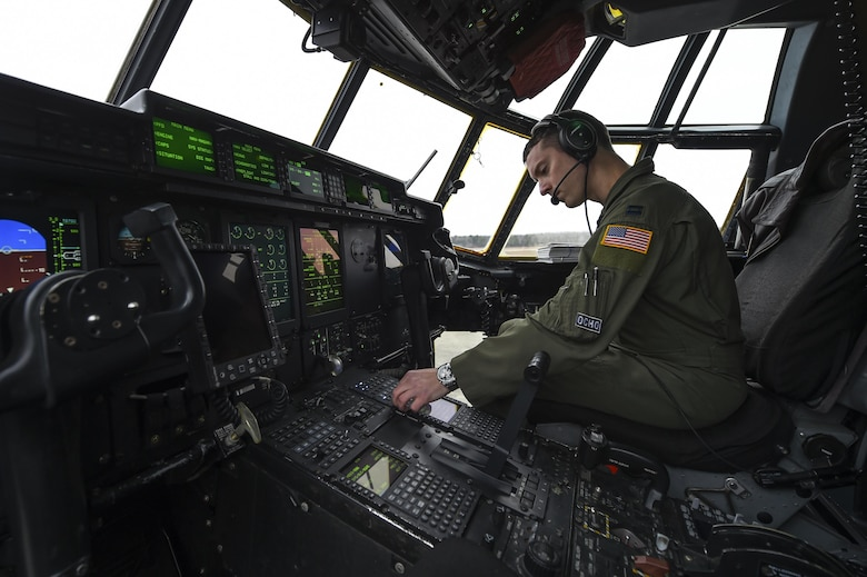 U.S. Air Force Capt. Kyle Gauthier, 61st Airlift Squadron C-130J pilot and flight commander, conducts a preflight checklist for a training sortie flight Feb. 3, 2017, at Little Rock Air Force Base, Ark. During the flight, aircrews tested the operability of recent hardware and software upgrades. (U.S. Air Force photo/Senior Airman Harry Brexel)