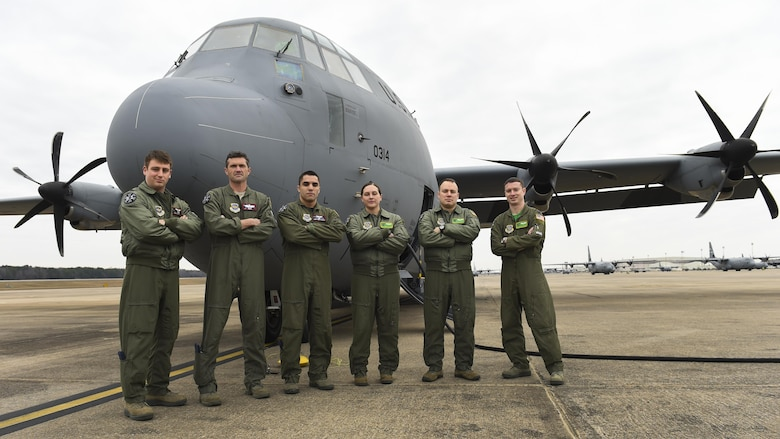 U.S. Air Force Airmen from the 61st Airlift Squadron and 41st Airlift Squadron prepare for their first flight in a C-130J with Block 8.1 enhancement upgrades Feb. 3, 2017, at Little Rock Air Force Base, Ark. The upgrades were installed by Lockheed Martin and improve communications, navigation, surveillance/air traffic management and more. (U.S. Air Force photo/Senior Airman Harry Brexel)