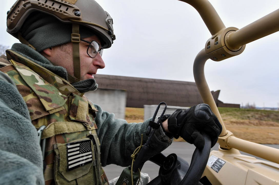 Master Sgt. Jeremy Francisco, 435th Contingency Response Squadron readiness flight chief, drives an all-terrain vehicle during Exercise Austere Forge on Ramstein Air Base, Germany, Feb. 1, 2017. The 435 CRG participated in the exercise to practice their capability to deploy within 72 hours. (U.S. Air Force photo by Senior Airman Tryphena Mayhugh)