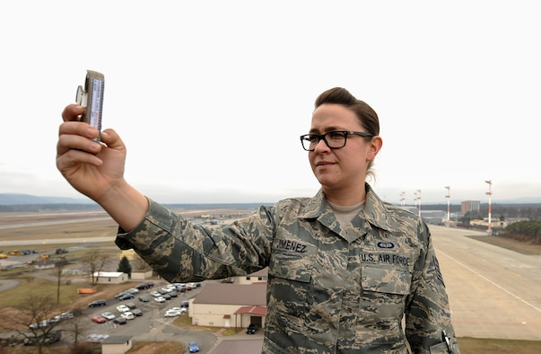 Staff Sgt. Nichol Jimenez, 86th OSS weather forecaster craftsman, holds a hand-held weather instrument called a kestrel on Ramstein Air Base, Germany, Feb. 7, 2017. Jimenez was awarded 2016's Air Force Weather Airman of the Year while providing support to both the 37th and 76th Airlift Squadrons. (U.S. Air Force photo by Airman 1st Class Savannah L. Waters)