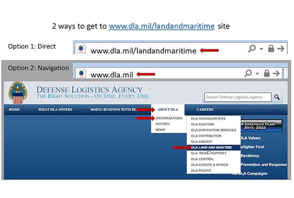 Slides showing how to navigate to DLA Land and Maritime home page.
