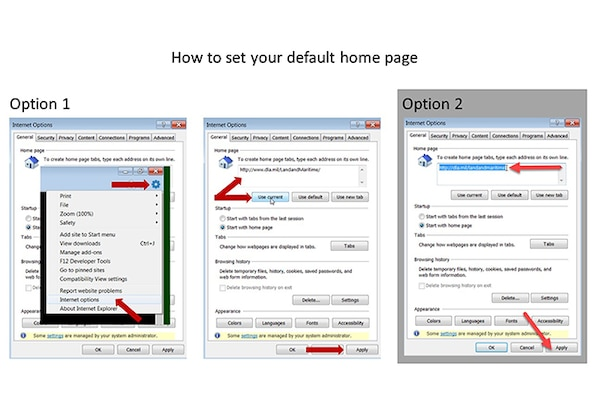 Slides showing how to update your default home page to DLA Land and Maritime.