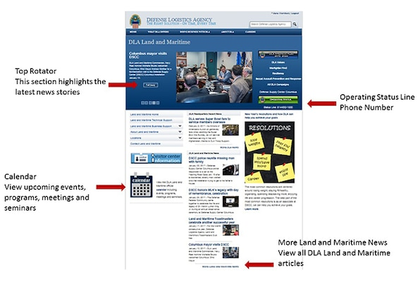 Slides showing key features of the DLA Land and Maritime home page.