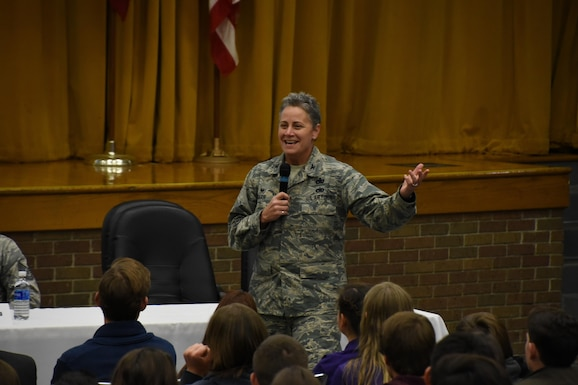 Col. Patricia Barr speaks to a group of  students from various local schools gathered for career day on Nov. 22, 2016, at Lexington High School in Lexington, Ohio. Barr is an alumni of Lexington High School and one of the first female Mission Support Group Commanders at the 179th Airlift Wing, Mansfield, Ohio. (U.S. Air National Guard photo by Airman Megan Shepherd\Released)