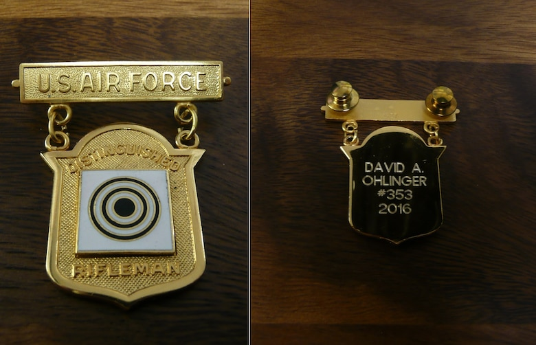 The back, right, of Air Force Office of Special Investigations Special Agent David Ohlinger's Air Force Distinguished Rifleman Badge indicates he is only the 353rd marksman in history to earn the coveted Air Force award. (U.S. Air Force photos/Staff Sgt. Andrew Lee)
