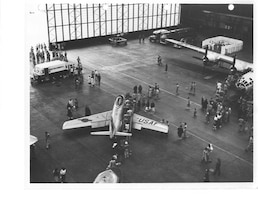 Air Shows and Open Houses have long been a tradition for military bases, like this one on May 17, 1952. Scott AFB personnel hosted surrounding community members to show them the great flying force that consisted of bombers, cargo and fighter aircraft such as the B-29 in the background.