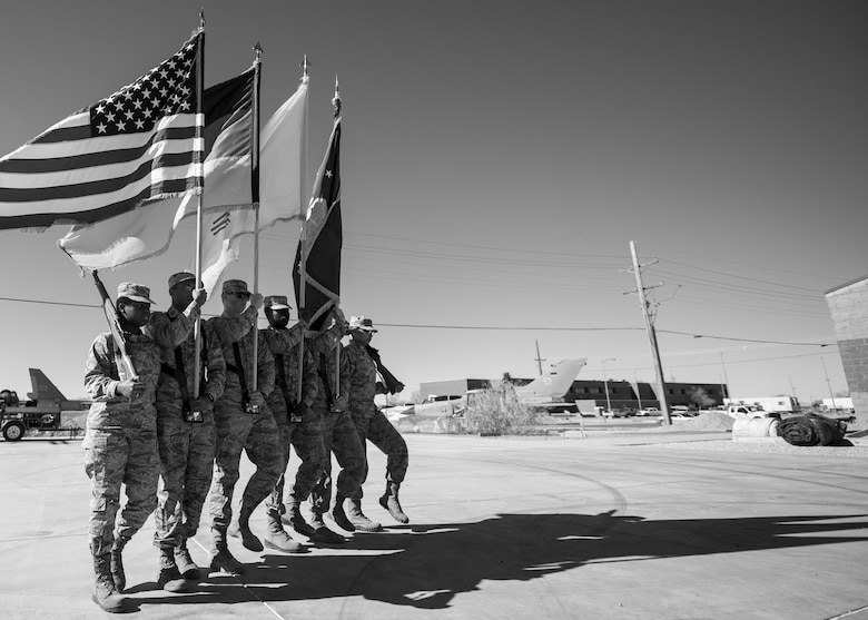 Steel Talons Honor Guard members practice the colors ceremony at Heritage Park at Holloman Air Force Base, N.M., on Feb. 1, 2017. The Steel Talons Honor Guard was created to honor fallen members of the armed services, both past and present. The honor guard performs at several hundred civilian and military ceremonies each year. (U.S. Air Force photo by Airman 1st Class Alexis P. Docherty)