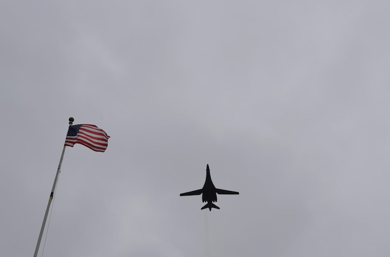 "A B-1B Lancer soars over Barksdale Air Force Base, La., in commemoration of the 8th Air Force's 75th anniversary Feb. 2, 2017. The modern day 8th Air Force traces its lineage to VIII Bomber Command, which came to life Feb. 1, 1942. Former and present bomber Airmen from across the country celebrated the anniversary by partaking in various event to honor the past, present and future Airmen of the ""Mighty Eighth."" (U.S. Air Force photo by Senior Airman Erin Trower)"