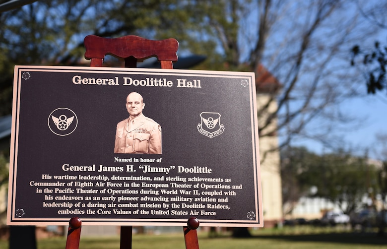"The 8th Air Force headquarters building was dedicated to General James H. ""Jimmy"" Doolittle during a series of 8th AF 75th diamond anniversary events at Barksdale Air Force Base, La., Feb. 2, 2017. Doolittle commanded the 8th Air Force during World War II and led the historic air combat mission known today as the Doolittle Raid. (U.S. Air Force photo by Senior Airman Erin Trower)"