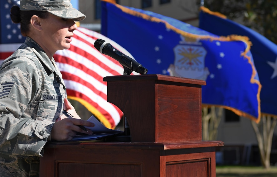 """Tech. Sgt. Robin Samolinski, 8th Air Force executive assistant to the command chief, speaks during a building dedication and cake cutting ceremony at Barksdale Air Force Base, La., Feb. 2, 2017. The 8th AF headquarters building was dedicated to General James H. """"Jimmy"""" Doolittle during a series of 8th AF 75th diamond anniversary events. On Feb. 1, the Eighth celebrated its 75th anniversary, and former and current """"Mighty Eighth"""" Airmen from across the country came to Barksdale AFB to take part in the celebration. (U.S. Air Force photo by Senior Airman Erin Trower)"""